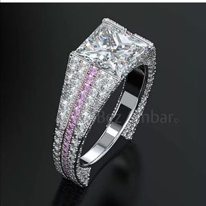 New Women 925 Silver White Sapphire Wedding Ring